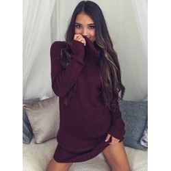 Fashion High Neck Solid Loose Pullover Sweater