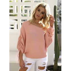 Fashion Solid Batwing Sleeve Loose Sweater