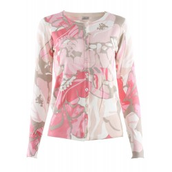 Floral Print Single- Breasted Long Sleeve Round Neck Cardigan