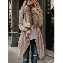 Hairy Collar Long Sleeve Open Front Loose Sweater Cardigan