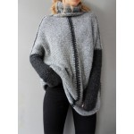 High Neck Color Block Loose Fit Pullover Sweater
