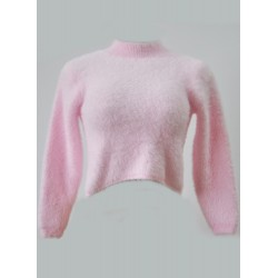 High Neck Long Sleeve Cropped Mohair Sweater