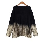 Hot stamping Round Neck Batwing Sleeve Loose Sweater