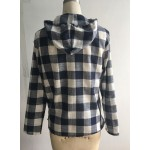 Long Sleeve Pullover Plaid Hoodie Shirt