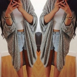 Loose Long Sleeve Solid Cardigan Blouse