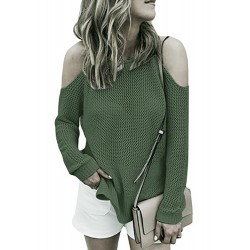 Off Shoulder Long Sleeve Solid Color Loose Fit Sweater
