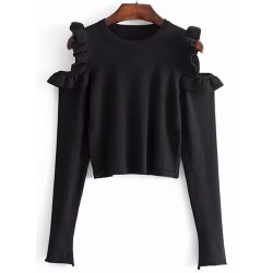 Off Shoulder Ruffle Long Sleeve Pullover Sweater