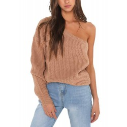 One Shoulder Solid Color Pullover Sweater