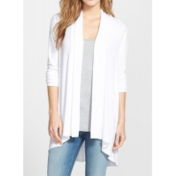 Open Front Long Sleeve Solid Color Irregular Cardigan