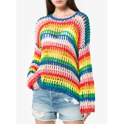 Rainbow Stripes Round Neck Long Sleeve Hollow Out Sweater