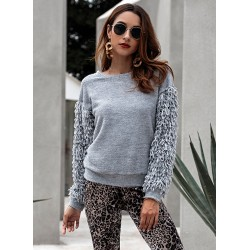 Round Long Sleeve Solid Color Tassel Pullover Sweater