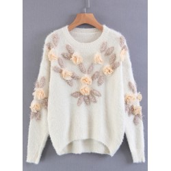 Round Neck Floral Decoration Solid Sweater