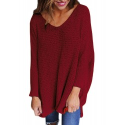 Round Neck Long Sleeve Loose Hollow Out Sweater