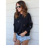 Round Neck Long Sleeve Stars Embroidery Pullover Sweater
