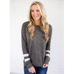 Round Neck Striped Sleeve Pullover Sweatshirt
