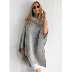 Solid Color High Neck Irregular Knit Cape Sweater