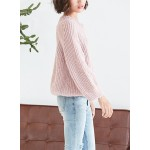 Solid Lantern Sleeve Loose Knit Pullover Sweater