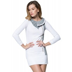 Turn Down Collar Long Sleeve Slim Fit Rivet Decoration Pullover Sweater