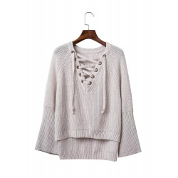 V Neck Lace up Hollow out Knit Sweater