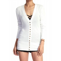 V Neck Long Sleeve Button Down Cardigan