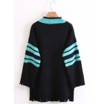 V Neck Long Sleeve Color Block Pullover Sweater