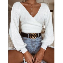 V Neck Long Sleeve Loose Pullover Sweater