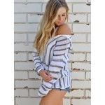 V Neck Long Sleeve Striped Hooded Sweater