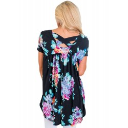 Black Floral Print Criss Cross Back Tee Shirt