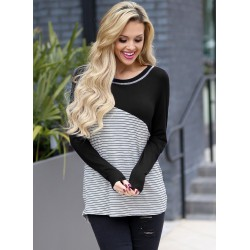 Black Striped Round Neck Long Sleeve Loose Tee