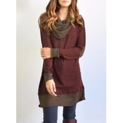 Casual Heaps Collar Patchwork Pullover Tee