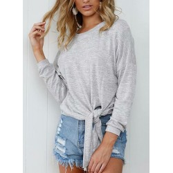 Casual Round Neck Long Sleeve Front Knot Loose Tee