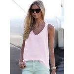 Casual Sleeveless Solid Pullover Chiffon Tank
