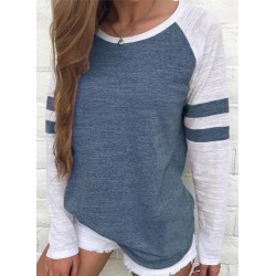 Casual Stripe Color Block Pullover Loose Tee