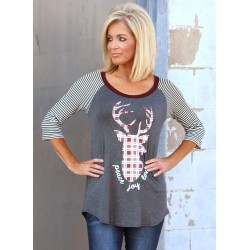 Christmas Round Neck Striped Sleeve Elk Print Tee Shirt