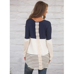 Color Block Long Sleeve Lace Panel Knit Tee Shirt