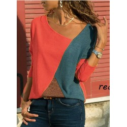 Contrast Color Round Neck Stitching Long Sleeve Casual T-shirt