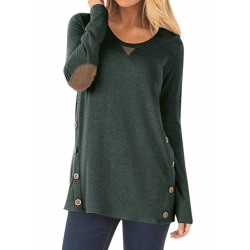 Fashion Long Sleeve Button Loose Pullover Tee