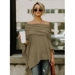 Fashion Off Shoulder Irregular Loose Fit Tee