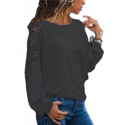 Lace Round Neck Solid Color Long Sleeve Loose T-Shirt