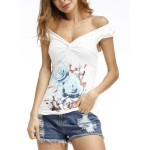 Light Blue Women's Summer Casual Floral Printed Short Sleeve V Neck Slim Tee