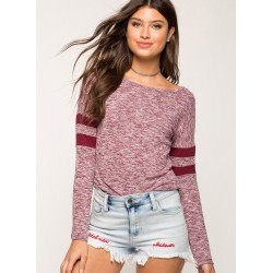 Pink Women's Casual Striped Round Neck Long Sleeve Loose Tee