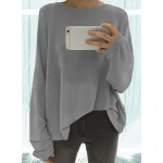 Round Neck Dolman Sleeve Loose Solid Color Tee