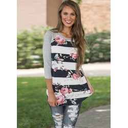 Round Neck Long Sleeve Floral Printed Splicing Tee Shirt