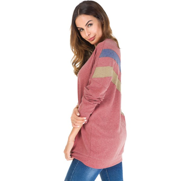 Round Neck Long Sleeve Splicing Pullover Tee Shirt