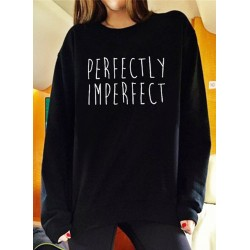 Round Neck Loose Fit Pullover Letter Printed Tee