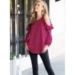 Round Neck Ruffled Bare Shoulders Long Sleeve Shirt Top