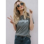 Round Neck Short Sleeve Letter Printed Tee Shirt