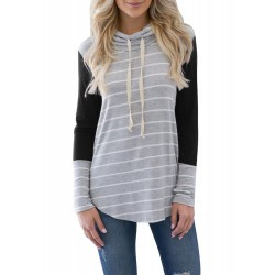Stacked Collar Striped Long Sleeve Stitching Top T-shirt