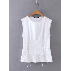 Stylish Lace-up Sleeveless Tee Shirt
