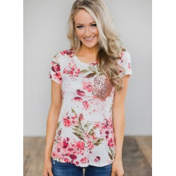 Summer Casual Loose Floral Printed Short Sleeve Round Neck Tee
